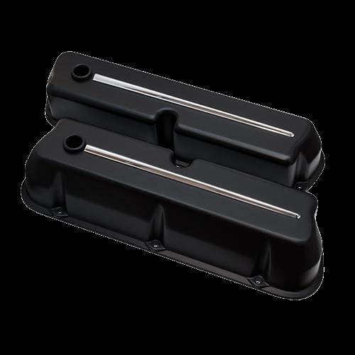 Billet Specialties - BSP95324 - Billet Specialties Aluminum Valve Covers, SBF, Streamline Collection, Satin Black