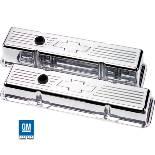 Billet Specialties - BSP95121 - Billet Specialties Aluminum Valve Covers, SBC, Polished with Bowtie, Short Style