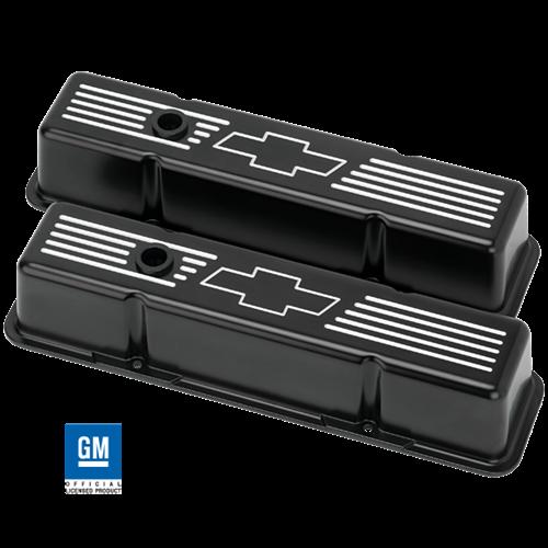 Billet Specialties - BSPBLK95221 - Billet Specialties Aluminum Valve Covers, SBC, Satin Black with Bowtie, Tall Style