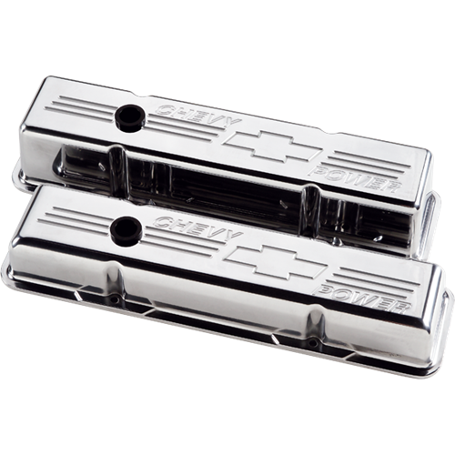 Billet Specialties - BSP95122 - Billet Specialties Aluminum Valve Covers, SBC, Polished with Chevy Power Logo, Short Style