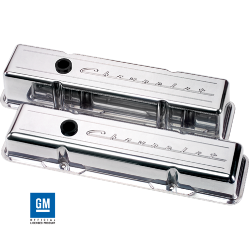 Billet Specialties - BSP95123 - Billet Specialties Aluminum Valve Covers, SBC, Polished with Chevrolet Script, Short Style