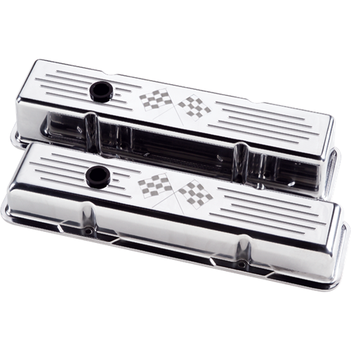 Billet Specialties - BSP95127 - Billet Specialties Aluminum Valve Covers, SBC, Polished with Cross Flags, Short Style
