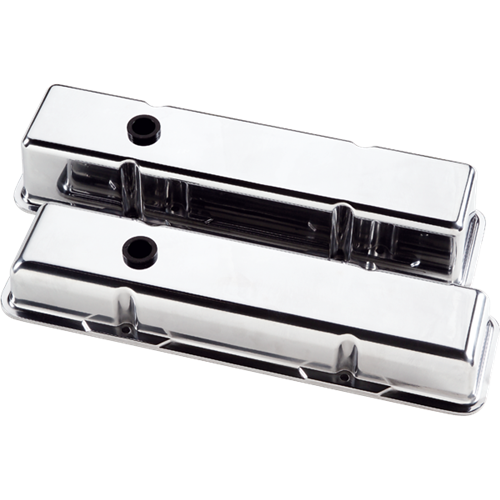 Billet Specialties - BSP95129 - Billet Specialties Aluminum Valve Covers, SBC, Polished Plain, Short Style
