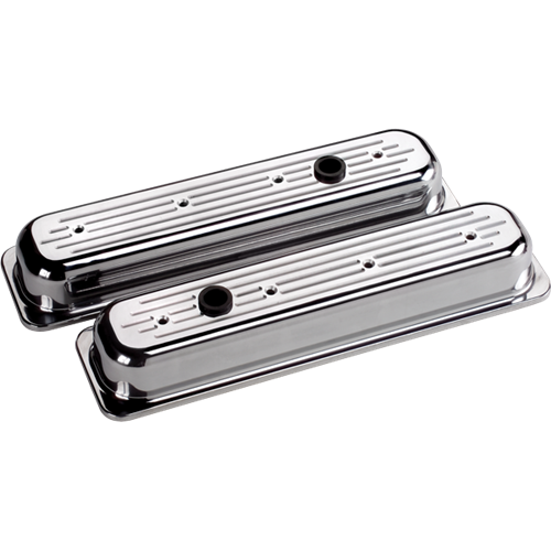 Billet Specialties - BSP95820 - Billet Specialties Aluminum Valve Covers, Polished, Center Bolt Chevy, Ball Milled, Short Style