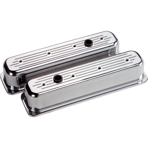 Billet Specialties - BSP95720 - Billet Specialties Aluminum Valve Covers, Polished, Center Bolt Chevy, Ball Milled, Tall Style