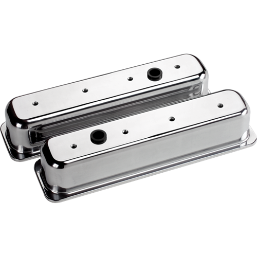 Billet Specialties - BSP95729 - Billet Specialties Aluminum Valve Covers, Polished, Center Bolt Chevy, Plain, Tall Style