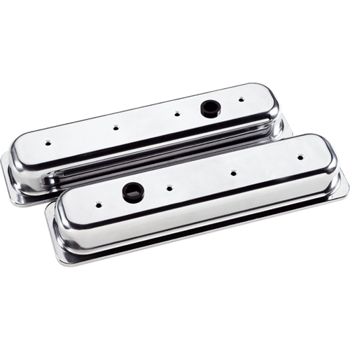 Billet Specialties - BSP95829 - Billet Specialties Aluminum Valve Covers, Polished, Center Bolt Chevy, Plain, Short Style