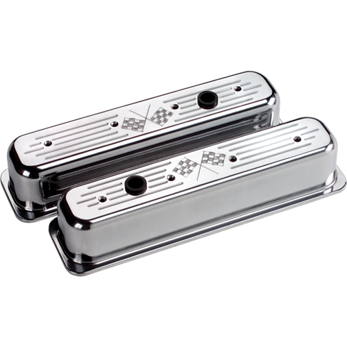 Billet Specialties - BSP95727 - Billet Specialties Aluminum Valve Covers, Polished, Center Bolt Chevy, Cross Flags, Tall Style