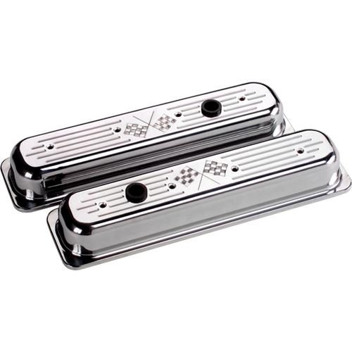 Billet Specialties - BSP95827 - Billet Specialties Aluminum Valve Covers, Polished, Center Bolt Chevy, Cross Flags, Short Style