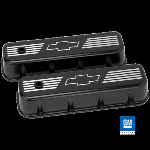 Billet Specialties - BSPBLK96121 - Billet Specialties Aluminum Valve Covers, BBC, Satin Black with Bowtie Logo, Tall Style