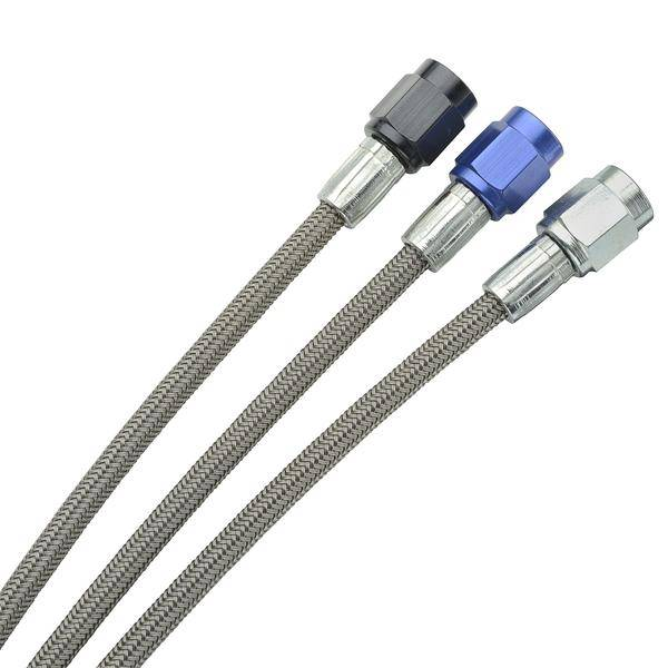 "Fragola - FRA290024-BL - Fragola -2 Brake Lines, Straight,Straight with -3 AN Black Female Nuts, 24"" Length"