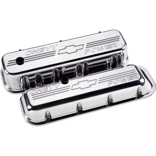 Billet Specialties - BSP96022 - Billet Specialties Aluminum Valve Covers, BBC, Polished with Chevy Power Logo, Short Style