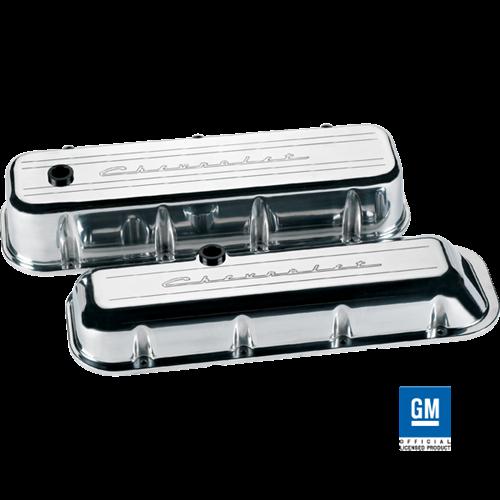 Billet Specialties - BSP96023 - Billet Specialties Aluminum Valve Covers, BBC, Polished with Chevrolet Script, Short Style