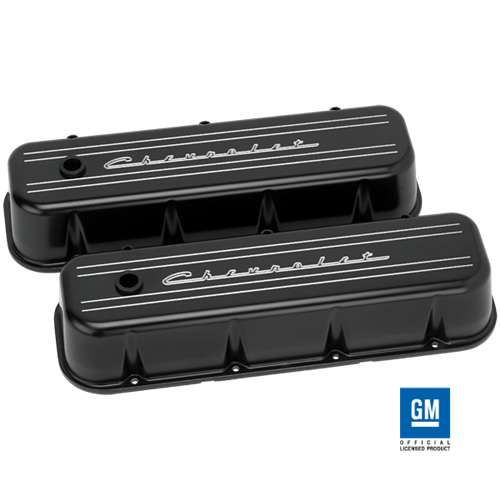 Billet Specialties - BSPBLK96123 - Billet Specialties Aluminum Valve Covers, BBC, Black with Chevrolet Script, Tall Style