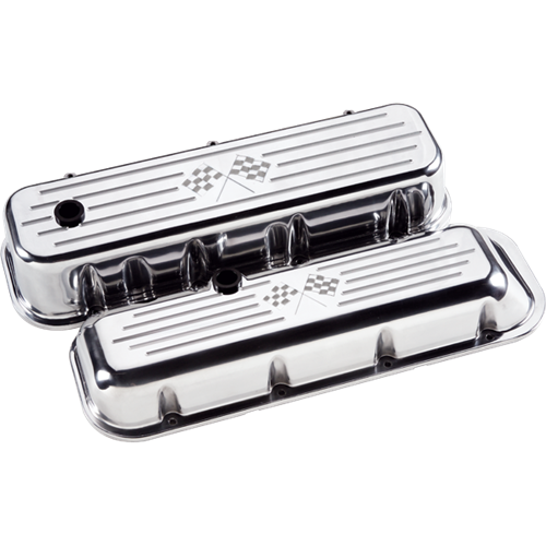 Billet Specialties - BSP96027 - Billet Specialties Aluminum Valve Covers, BBC, Polished with Cross Flags, Short Style