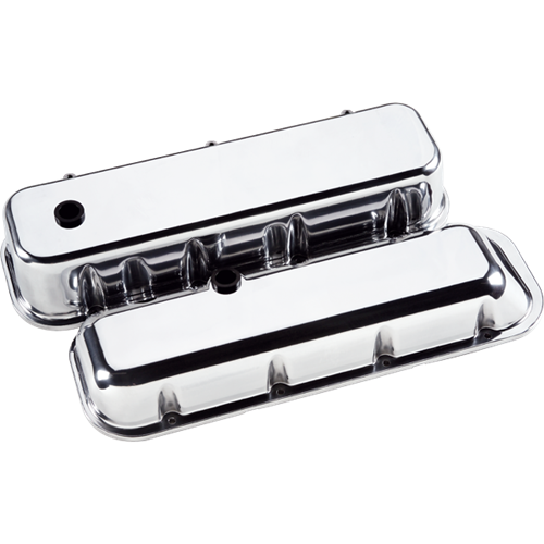 Billet Specialties - BSP96029 - Billet Specialties Aluminum Valve Covers, BBC, Plain, Short Style