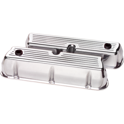 Billet Specialties - BSP95320 - Billet Specialties Aluminum Valve Covers, SBF, Ball Milled, Tall Style