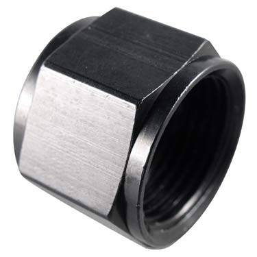 "Fragola - FRA492928-BL - Fragola Flare Cap,Black,8AN With 1/8"" NPT on End"