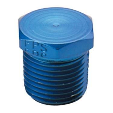 """Fragola - FRA493302 -  Fragola Hex Pipe Plug, Blue,1/4"""" NPT"""