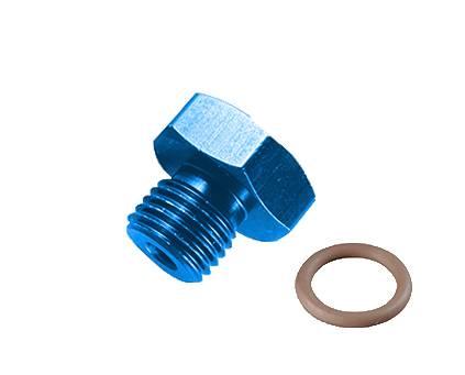 Fragola - FRA481403 - Fragola Aluminum Port Plug, -3 (3/8-24), Blue