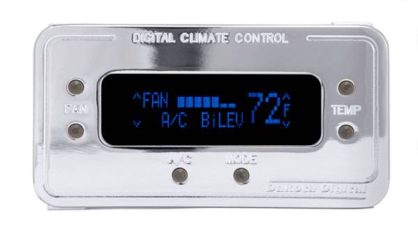 Dakota Digital - DAKDCC-2200-C-B - Digital Rectangular Climate Control system, fits Vintage Air Gen II, Chrome, Blue Display