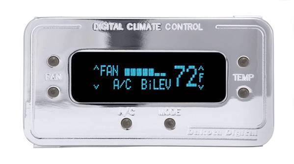 Dakota Digital - DAKDCC-2200-C-T - Digital Rectangular Climate Control system, fits Vintage Air Gen II, Chrome, Teal Display