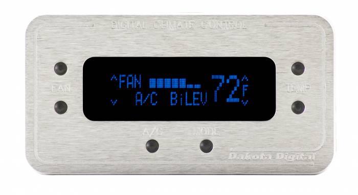 Dakota Digital - DAKDCC-2200-S-B - Digital Rectangular Climate Control system, fits Vintage Air Gen II, Satin Bezel, Blue Display