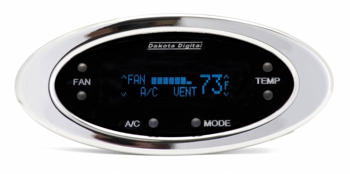 Dakota Digital - DAKDCC-2300-C-B - Digital Elliptical Climate Control system, fits Vintage Air Gen II, Chrome, Blue Display