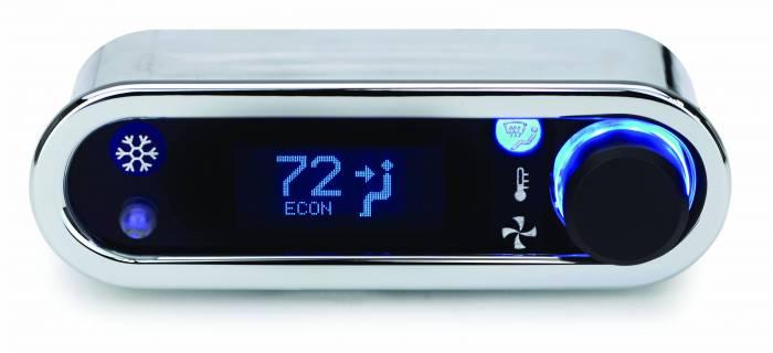 Dakota Digital - DAKDCC-2400H-C-B - DCC Digital Climate Control - Vintage Air Gen IV - VFD3 Style - Horizontal, Chrome, Blue Display