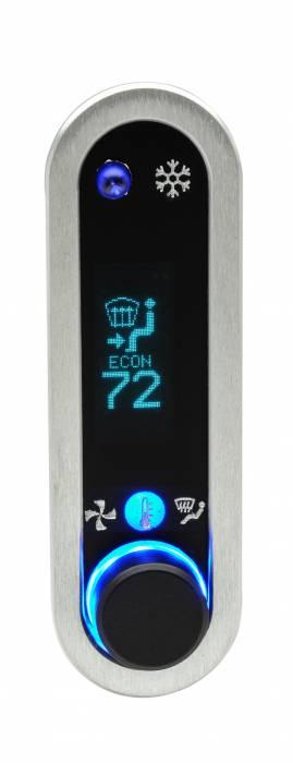 Dakota Digital - DAKDCC-2400V-S-T - DCC Digital Climate Control - Vintage Air Gen IV - VFD3 Style - Vertical, Satin Bezel, Teal Display