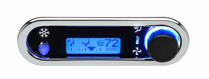 Dakota Digital - DAKDCC-2500H-C-B - DCC Digital Climate Control - Vintage Air Gen IV - VHX Style - Horizontal, Chrome, Blue Display