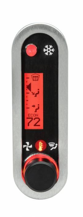 Dakota Digital - DAKDCC-2500V-S-R - DCC Digital Climate Control - Vintage Air Gen IV - VHX Style - Vertical, Satin Bezel, Red Display