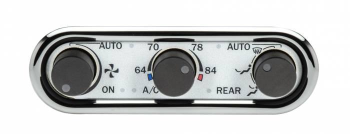 Dakota Digital - DAKDCC-3000HC-S-W - DCC Digital Climate Control - Vintage Air Gen IV 3-Knob, Horizontal, Chrome, Silver Alloy, White Display