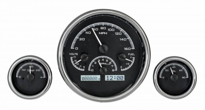 Dakota Digital - DAKVHX-1013-K-W - Triple Round Universal VHX System, Black Alloy Style Face, White Display