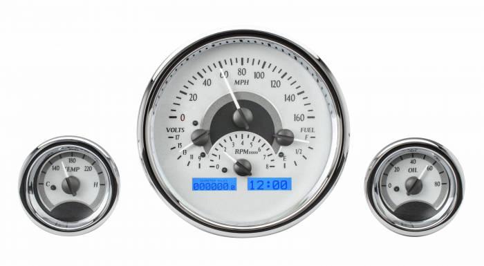 Dakota Digital - DAKVHX-1013-S-B - Triple Round Universal VHX System, Silver Alloy Style Face, Blue Display
