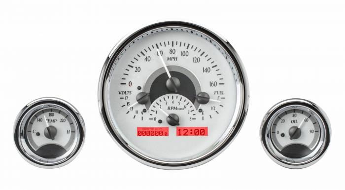 Dakota Digital - DAKVHX-1013-S-R - Triple Round Universal VHX System, Silver Alloy Style Face, Red Display