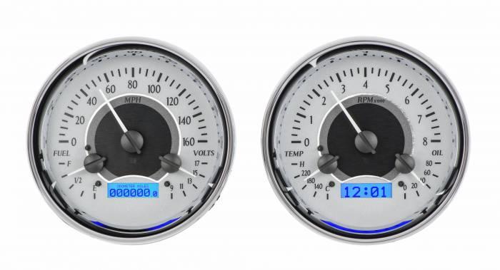 Dakota Digital - DAKVHX-1014-S-B - Dual Round Universal VHX System, Silver Alloy Style Face, Blue Display