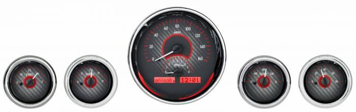 Dakota Digital - DAKVHX-1015-C-R - Five-Gauge Round Universal VHX System, Carbon Fiber Style Face, Red Display