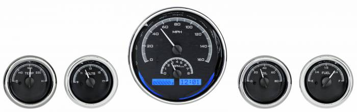 Dakota Digital - DAKVHX-1015-K-B - Five-Gauge Round Universal VHX System, Black Alloy Style Face, Blue Display