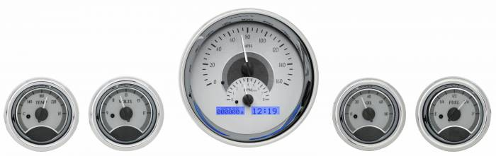 Dakota Digital - DAKVHX-1015-S-B - Five-Gauge Round Universal VHX System, Silver Alloy Style Face, Blue Display