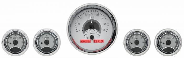 Dakota Digital - DAKVHX-1015-S-R - Five-Gauge Round Universal VHX System, Silver Alloy Style Face, Red Display