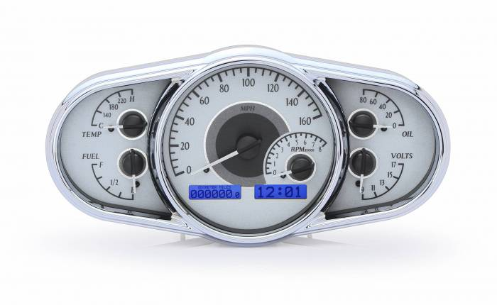 Dakota Digital - DAKVHX-1016-S-B - Universal Multi-Level VHX System, Silver Alloy Style Face, Blue Display