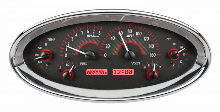 Dakota Digital - DAKVHX-1017-C-R - Universal Oval VHX System, Carbon Fiber Style Face, Red Display