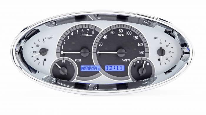 Dakota Digital - DAKVHX-1017-S-B - Universal Oval VHX System, Silver Alloy Style Face, Blue Display