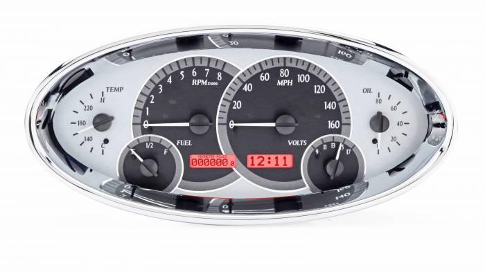 Dakota Digital - DAKVHX-1017-S-R - Universal Oval VHX System, Silver Alloy Style Face, Red Display