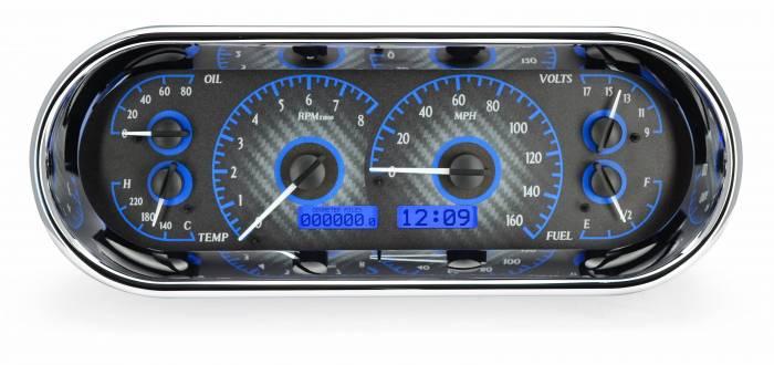 Dakota Digital - DAKVHX-1018-C-B - Rounded Rectangle VHX System, Carbon Fiber Style Face, Blue Display