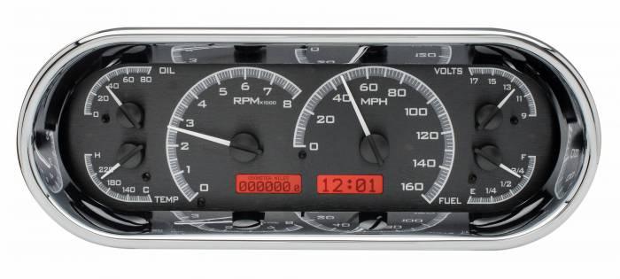 Dakota Digital - DAKVHX-1018-K-R - Rounded Rectangle VHX System, Black Alloy Style Face, Red Display
