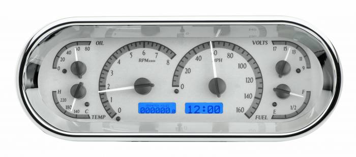 Dakota Digital - DAKVHX-1018-S-B - Rounded Rectangle VHX System, Silver Alloy Style Face, Blue Display