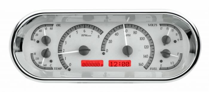 Dakota Digital - DAKVHX-1018-S-R - Rounded Rectangle VHX System, Silver Alloy Style Face, Red Display