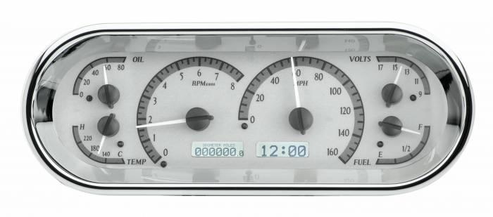 Dakota Digital - DAKVHX-1018-S-W - Rounded Rectangle VHX System, Silver Alloy Style Face, White Display